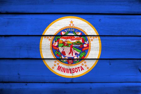 minnesota: Minnesota State Flag on wood background