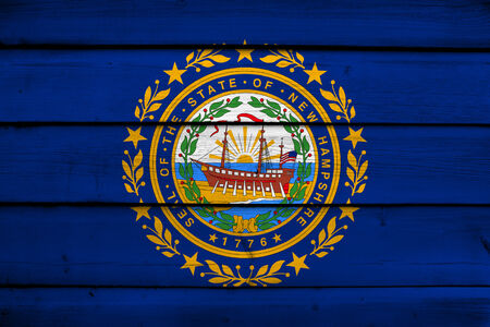 us government: New Hampshire State Flag on wood background