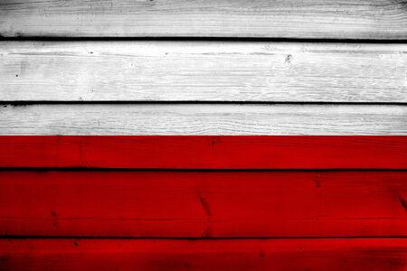 Poland Flag on wood background photo
