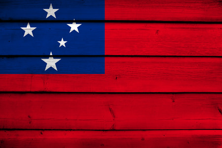 samoa: Samoa Flag on wood background