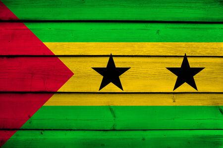 tome: Sao Tome and Principe Flag on wood background