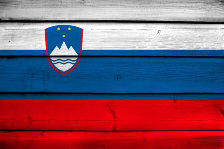 slovenia: Slovenia Flag on wood background Stock Photo