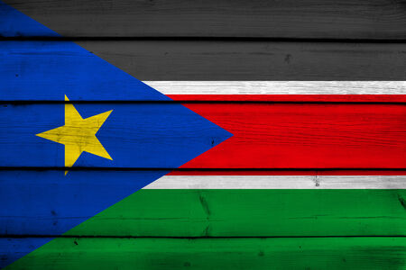 south sudan: South Sudan Flag on wood background Stock Photo