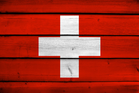 switzerland flag: Switzerland Flag on wood background