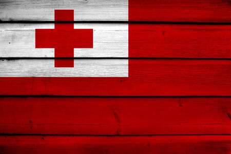 tonga: Tonga Flag on wood background Stock Photo