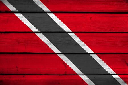 trinidad and tobago: Trinidad and Tobago Flag on wood background Stock Photo