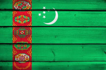 commonwealth: Turkmenistan Flag on wood background
