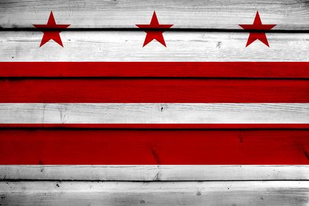 dc: Washington DC Flag on wood background