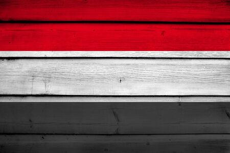 commonwealth: Yemen Flag on wood background Stock Photo