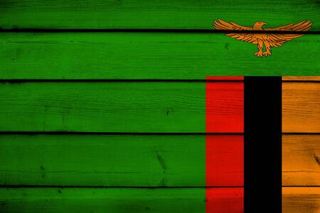 zambian flag: Zambia Flag on wood background