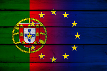 Portugal and European Union Flag on wood background photo