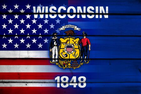 wisconsin state: USA and Wisconsin State Flag on wood background Stock Photo