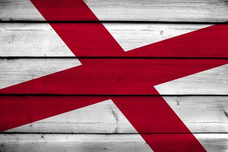 alabama: Alabama State Flag on wood background Stock Photo