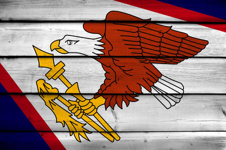 samoa: American Samoa Flag on wood background