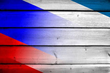 crimea: Autonomous Republic of Crimea and Russia Flag on wood background Stock Photo