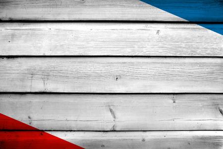 autonomous: Autonomous Republic of Crimea Flag on wood background Stock Photo