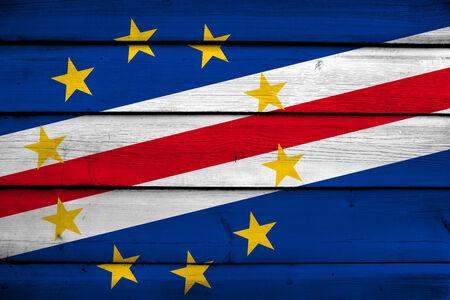 cape verde flag: Cape Verde Flag on wood background