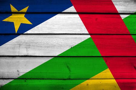 central african republic: Central African Republic Flag on wood background Stock Photo