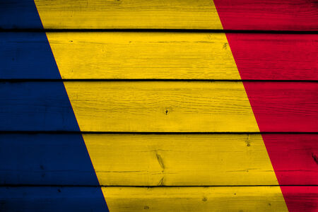 chad: Chad Flag on wood background Stock Photo
