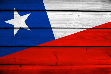 chile: Chile Flag on wood background