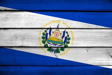 el salvador flag: El Salvador Flag on wood background Stock Photo