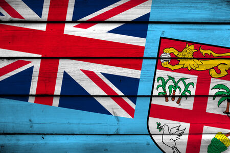 fiji: Fiji Flag on wood background
