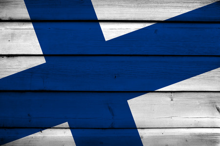 finland flag: Finland Flag on wood background Stock Photo