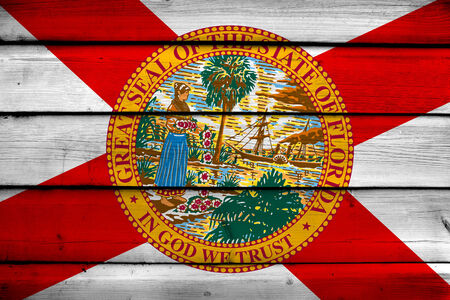 florida state: Florida State Flag on wood background