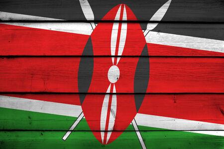 kenya: Kenya Flag on wood background