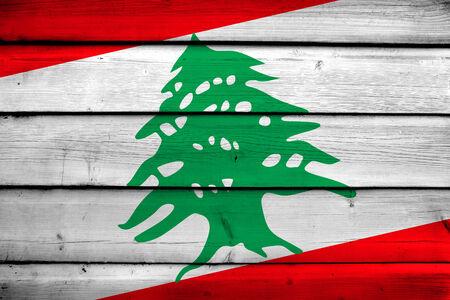 lebanon: Lebanon Flag on wood background