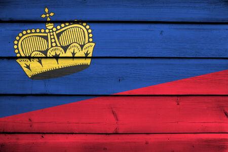 lichtenstein: Lichtenstein Flag on wood background Stock Photo