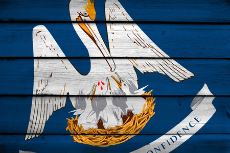 louisiana state: Louisiana State Flag on wood background Stock Photo