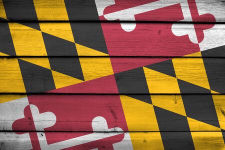 maryland: Maryland State Flag on wood background Stock Photo