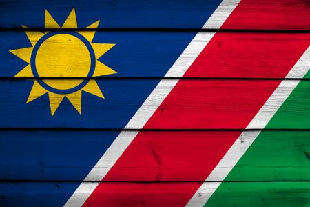 namibia: Namibia Flag on wood background