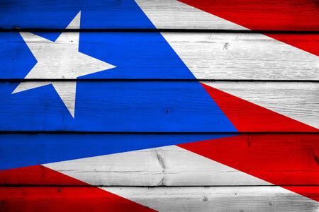 rico: Puerto Rico Flag on wood background