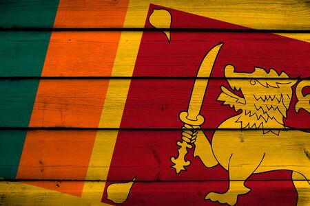 sri: Sri Lanka Flag on wood background