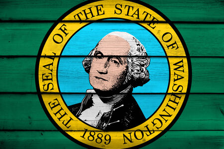 washington state: Washington State Flag on wood background Stock Photo