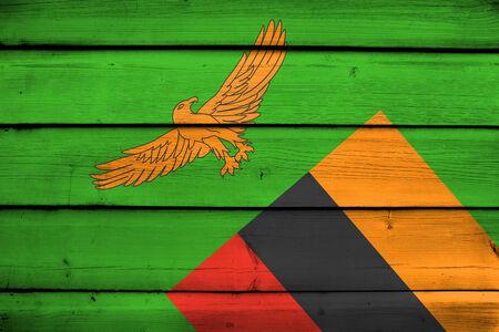 zambia flag: Zambia Flag on wood background