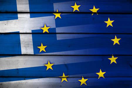Greece and European Union Flag on wood background Stock Photo