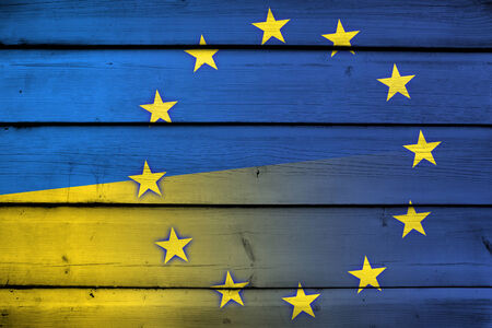 separatist: Ukraine and European Union Flag on wood background Stock Photo