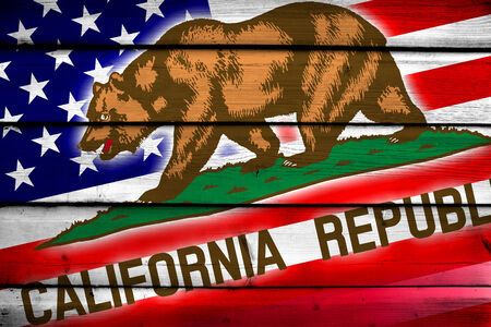 california state: USA and California State Flag on wood background