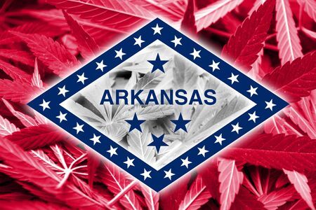 smuggling: Arkansas State Flag on cannabis background. Drug policy. Legalization of marijuana