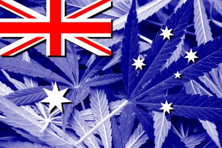 policy: Australia Flag on cannabis background. Drug policy. Legalization of marijuana