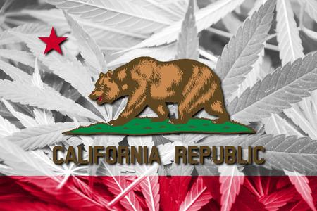 California State Flag on cannabis background. Drug policy. Legalization of marijuana
