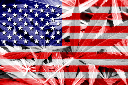 USA Flag on cannabis background. Drug policy. Legalization of marijuana