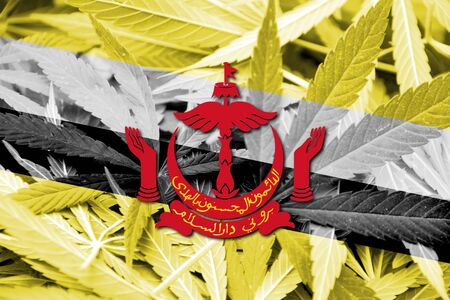 grass close up: Brunei Flag on cannabis background. Drug policy. Legalization of marijuana