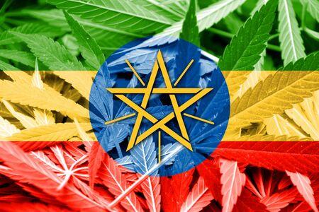 drug dealer: Ethiopia Flag on cannabis background. Drug policy. Legalization of marijuana