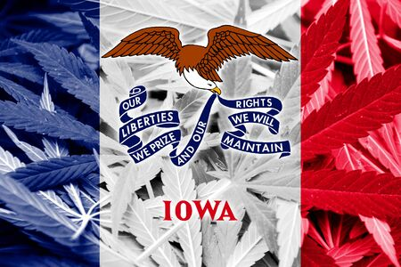 smuggling: Iowa State Flag on cannabis background. Drug policy. Legalization of marijuana