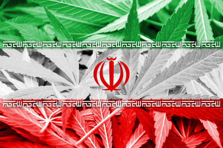 middle joint: Iran Flag on cannabis background. Drug policy. Legalization of marijuana Stock Photo