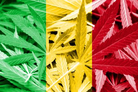 dope: Mali Flag on cannabis background. Drug policy. Legalization of marijuana